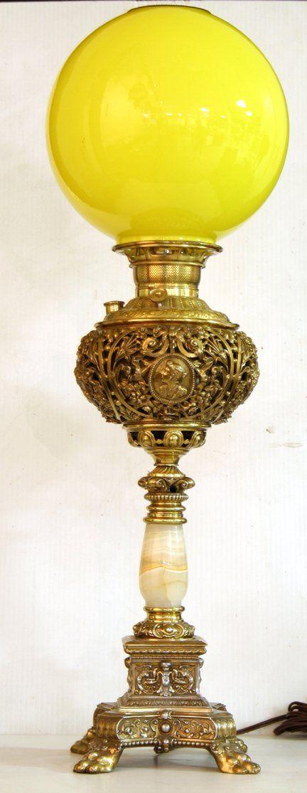 Lot:453: Kerosene Table Lamp, electrified, Lot Number:453, Starting Bid:$200, Auctioneer:Wooden Nickel Antiques, Auction:453: Kerosene Table Lamp, electrified, Date:03:00 AM PT - Jul 7th, 2007