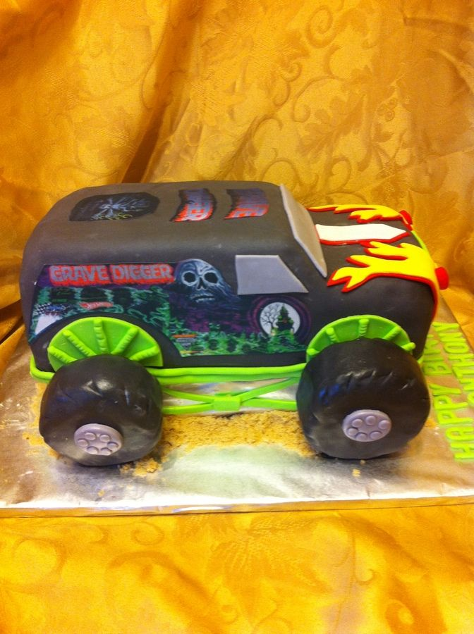 Baked in two 9 by 13 inch pans. Truck is covered in fondant, EI on sides. Tires are made from RKT, covered in melted choc, than covered in fondant. TFL