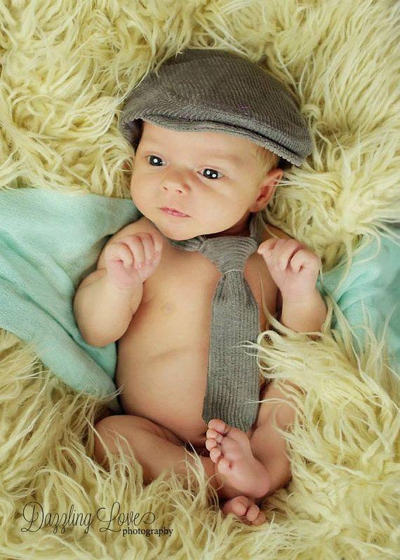 Newborn photo prop, gray newborn hat, infant photo prop necktie and newsboy hat, newborn flat cap, newborn boy prop  -  made to order
