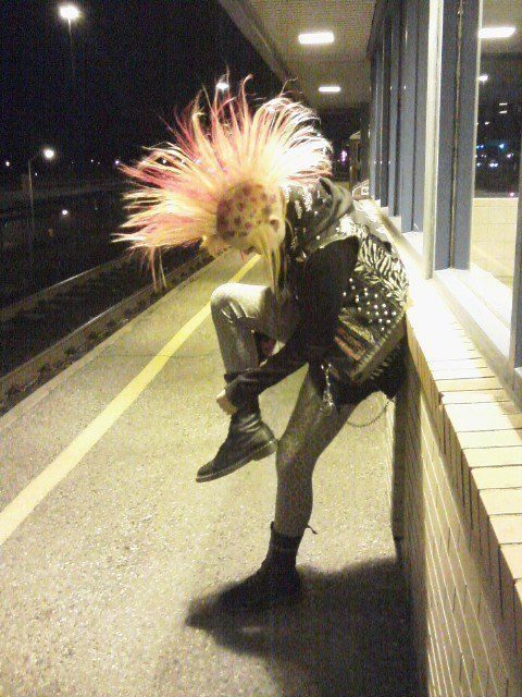 Mohawk Punk Pink Rocker Hard-core