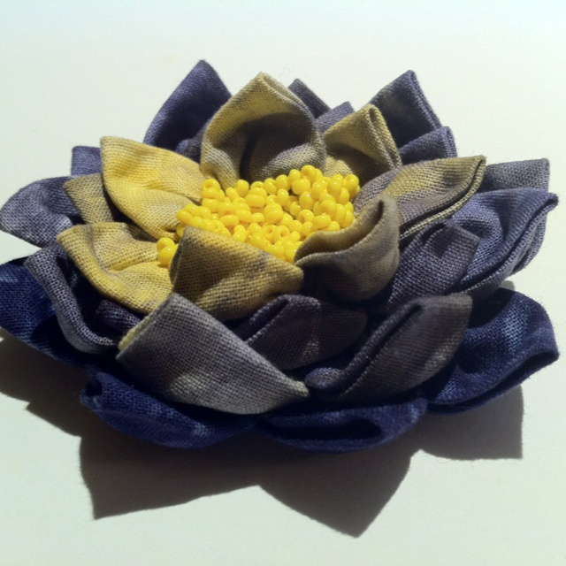 Waterlily with my hand dyed fabrics.