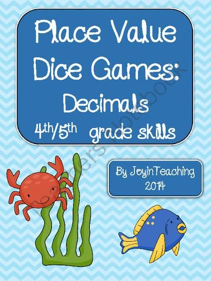 Decimals: Place Value Dice Games: id place value, expanded form from Joy in Teaching on TeachersNotebook.com -  (40 pages)  - These games are 4th/ 5th grade level. (basic decimal place value-ones, tens, hundreds and tenths, hundredths, thousandths).