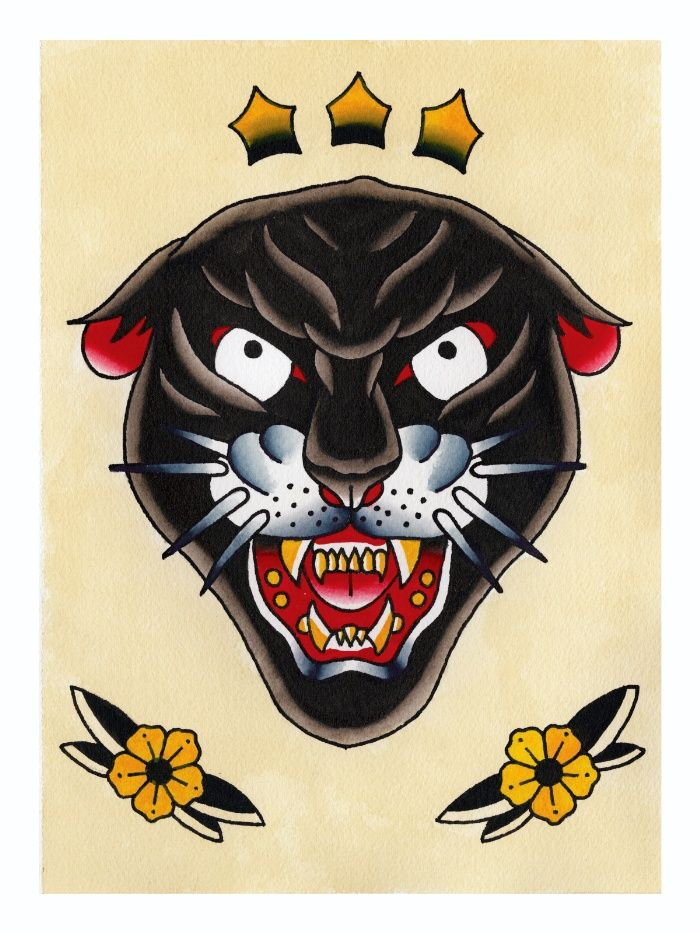 Traditional Tattoo Flash Panther Head Canvas Print