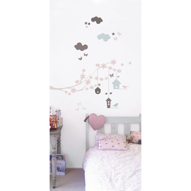 This lovely set of wall decals is the perfect addition to any little girl's bedroom or play area. The soft colors of pink, aqua and brown easily compliment modern bedding or decor.