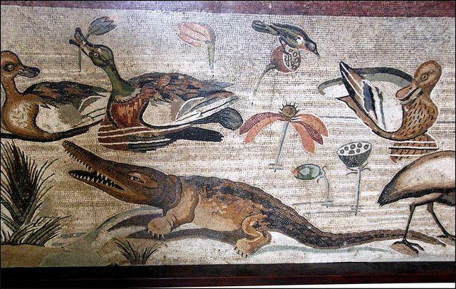 Scena nilotica con coccodrillo, anatre, uccelli e fiori di loto - dalla Casa del Fauno di Pompei - Museo Arch. Naz. Napoli