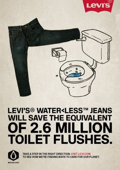 Levi's Waterless Jeans Monnie - When you put the figures this way its quite shocking how much water is used during clothing manufacturing. These adverts really do make people stand back and think wow, really!?