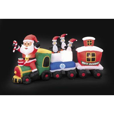 LB International Inflatable Santa Train Christmas Decoration