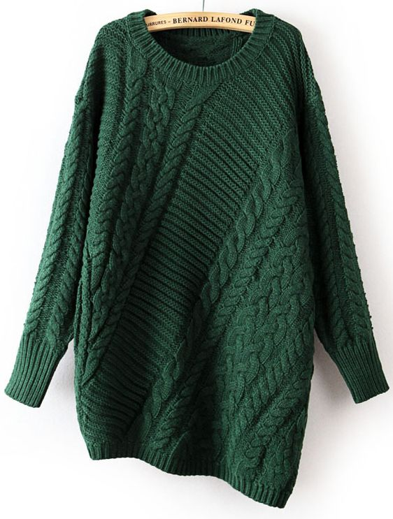Green+Long+Sleeve+Asymmetrical+Cable+Knit+Sweater+0.00