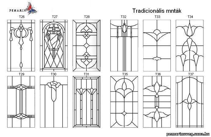 Tiffany стеклянные украшения pemarin - двери, окна, ШАБЛОНЫ