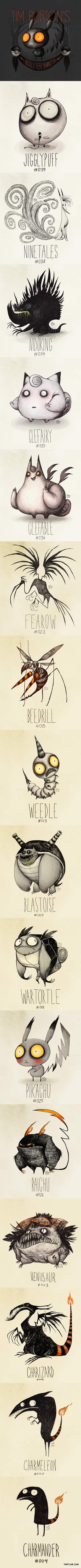 Tim Burton inspired Pokemon drawings by Vaughn Pinpin.