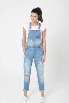 salopette jeans con rotture  DONNA