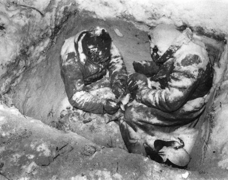 German soldiers who froze to death, winter 1941. The German Army was ill prepared for the harsh Russian winter. Almost half as many Germans were killed by the winter elements as by enemy bullets!!