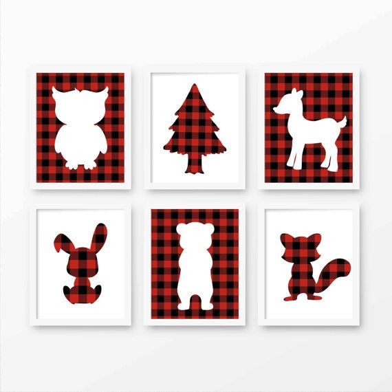 Lumberjack Nursery Art Buffalo Plaid by PeanutPrintsBoutique