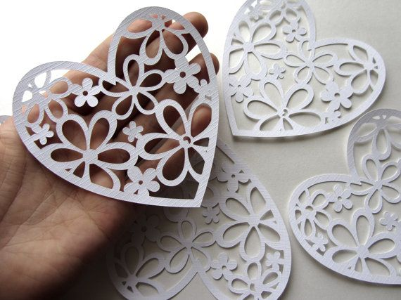 Large White Paper Hearts Wedding Hearts White by MurisAndAJ, $5.95
