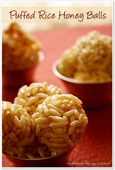 Puffed Rice Honey Balls  My Aunt May always made these(or a variation) for Christmas!