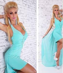 Κομψό μίνι φόρεμα με ουρά-τυρκουάζ