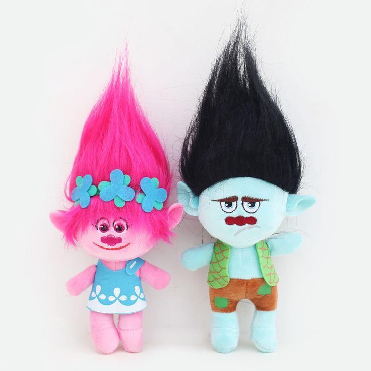 23-32 cm Hot sale 2017 NEW Film Troll Plush Mainan Poppy Cabang mimpi Bekerja Boneka Kartun Boneka Troll Yang Keberuntungan Natal G