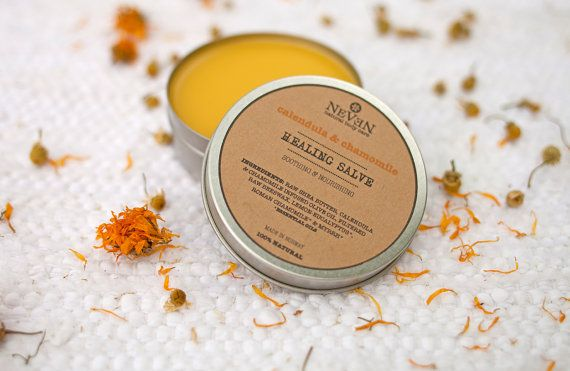 Calendula & Chamomile healing body salve by NevenBodyCare on Etsy  #healingsalve #sunburn #burn #wound #scar #cuts #graze #remedy #rejuvenating #moisturizing #conditioning #soothing #gentle #lemoneucalyptusoil #insectrepelian  www.neven-body-care.com