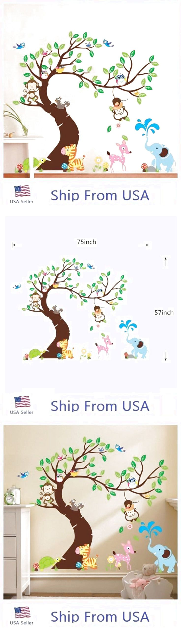 Jungle Animals Tree Monkey Owl Removable Wall Decal Stickers Kids Room Decor USA $12.99