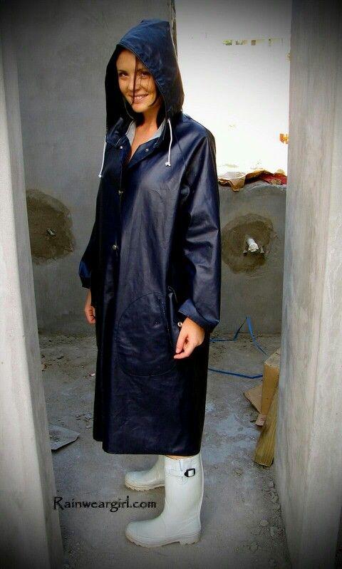 Adele in a navy rukka mackintosh and grey wellies