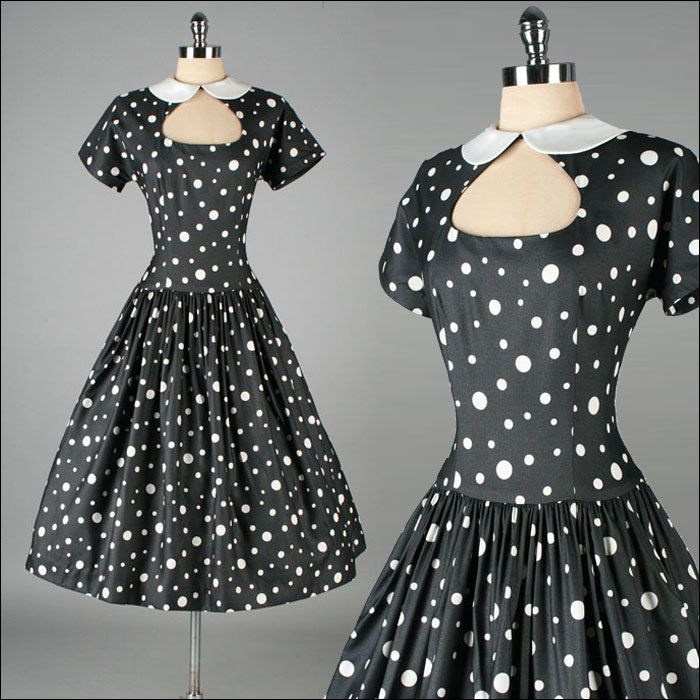 Must....have...this....dress....  Vintage 1950s Dress . Black . Polka Dots . Full Skirt . M . 2800. $245.00, via Etsy.