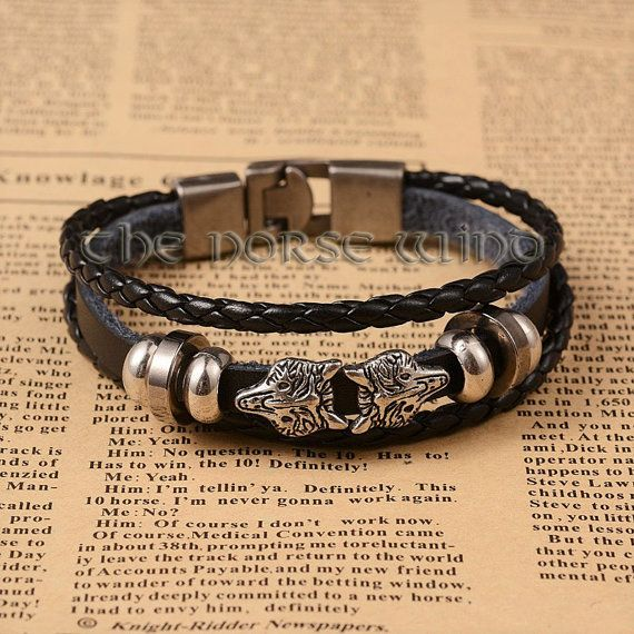 Viking Bracelet, Wolf Heads PU Leather Bracelet, Fenrir Wolf, Viking Amulet Norse Bracelet Viking Jewelry