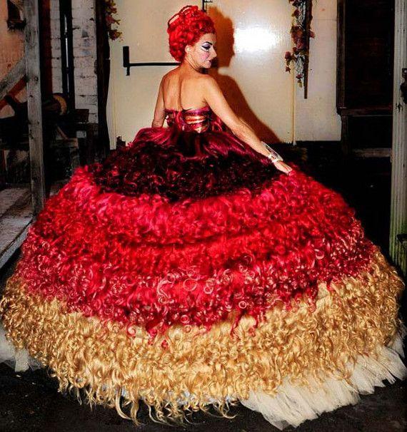 Wedding Dress Made Of Human Hair  820 feet of it.
