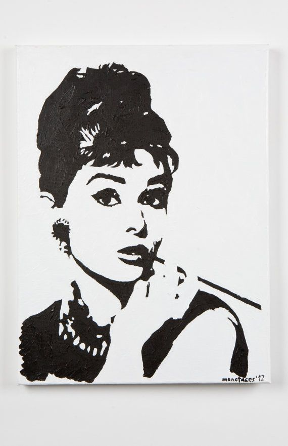 Audrey Hepburn painting hand painted acrylic piece of by MONOFACES, €70.00