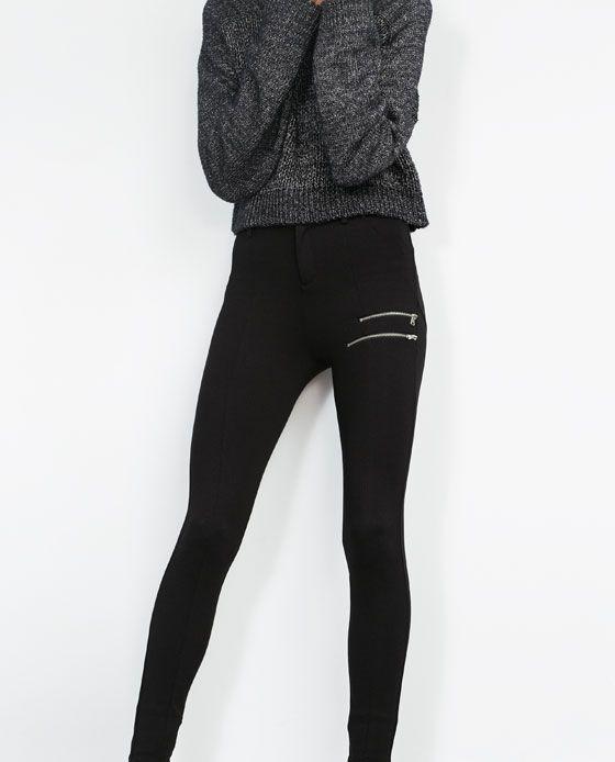 Image 3 of DOUBLE ZIP LEGGINGS from Zara