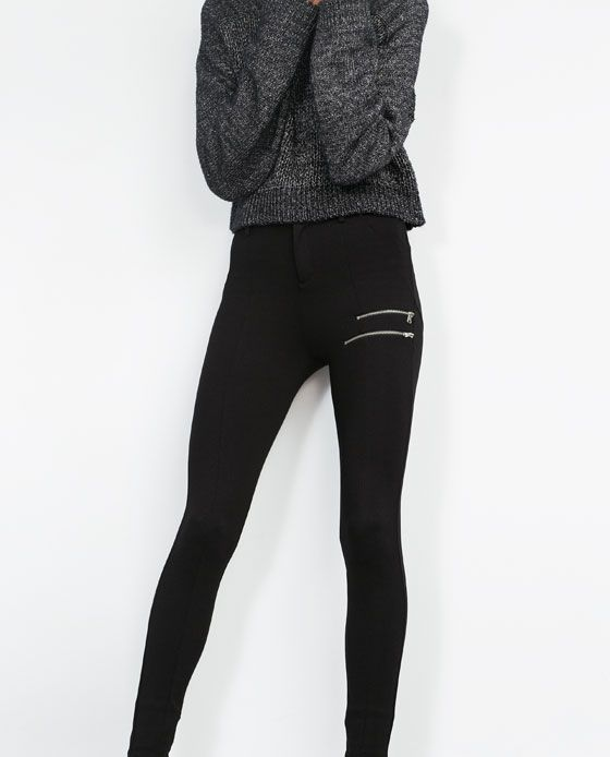 Image 3 of DOUBLE ZIP LEGGINGS from Zara