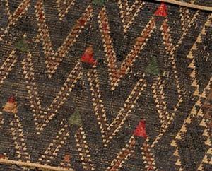 Taniko pattern, huaki cloak with three taniko borders; courtesy of National Gallery or Australia, Canberra (2007.616)