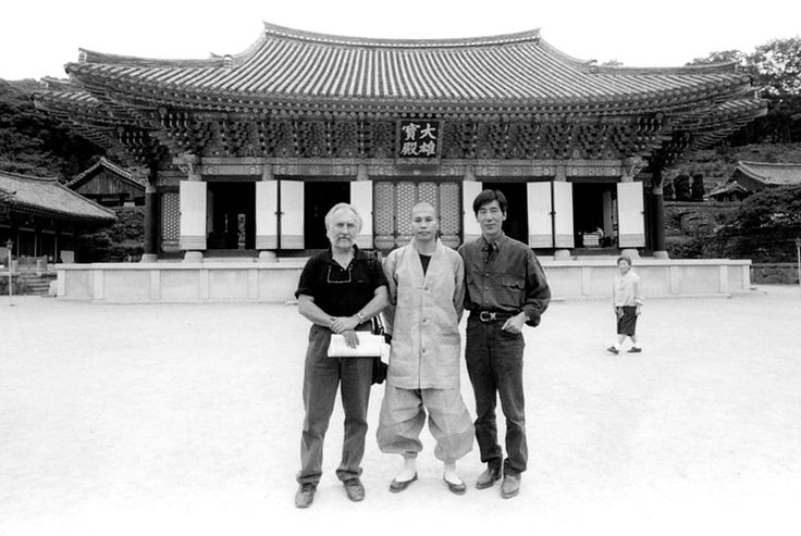 Chambers and Choi Ok-soo with a Monk at a temple near Gwangju, South Korea, 1997.