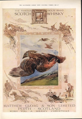 The Famous Grouse Scotch Whisky.  Matthew Gloag & Son LTD, Perth, Scotland ad from 1939