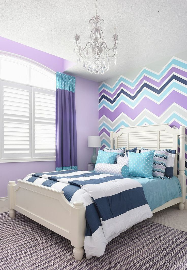 Chevron pattern accent wall in violet, aqua and gray. #bedroomideasforgirls