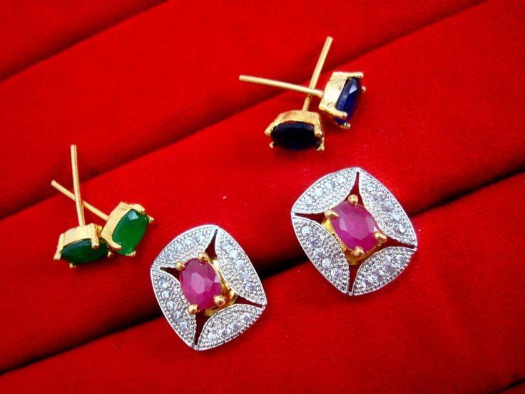 Fashionable SixInOne Changeable Zircon Earrings for Women, Best Anniversary Gift - PINK