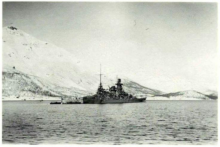 A late view of 11 in battleship Scharnhorst, much pictured on this Board, seen in Norway, winter 1943. She was sunk by the Royal Navy at the Battle of the North Cape on Boxing Day that year whilst attempting to intercept an Arctic convoy.