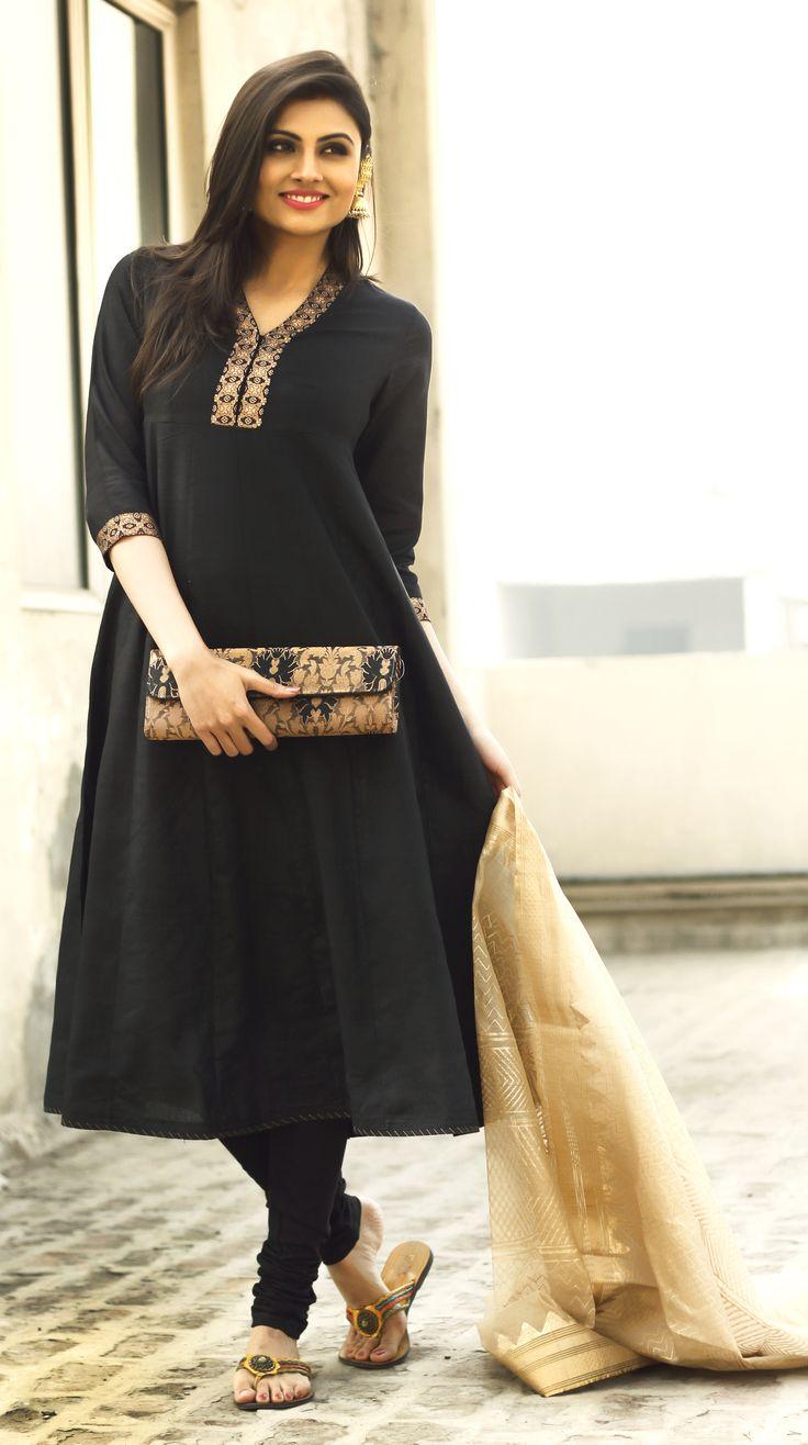 #black #silk #anarkali with #brocade trim