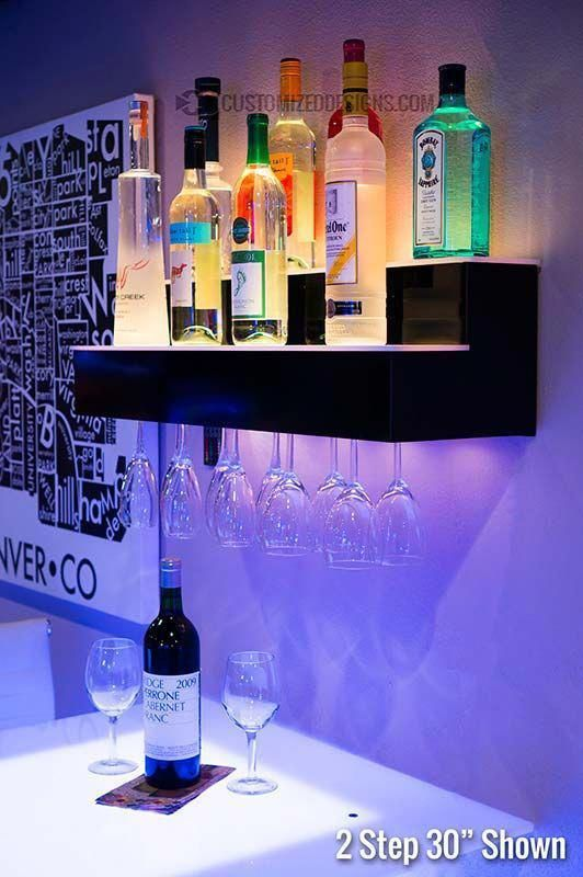 Magnificent Led Lighted Liquor Shelves Illuminated Home Bar Displays Download Free Architecture Designs Embacsunscenecom