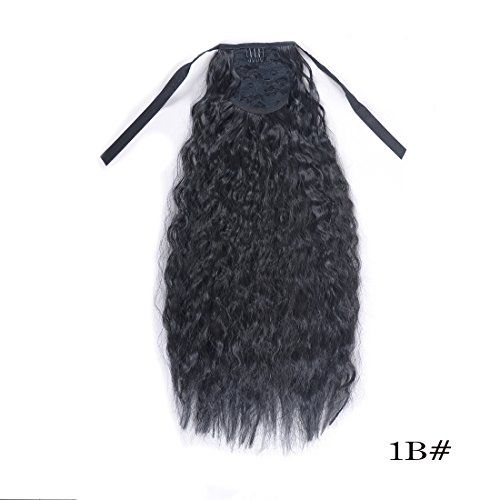 Burhair 22 Inch Long Kinky Straight Ponytail Extensions For Women Synthetic Hair 100g-110g 1B Black #Burhair #Inch #Long #Kinky #Straight #Ponytail #Extensions #Women #Synthetic #Hair #Black