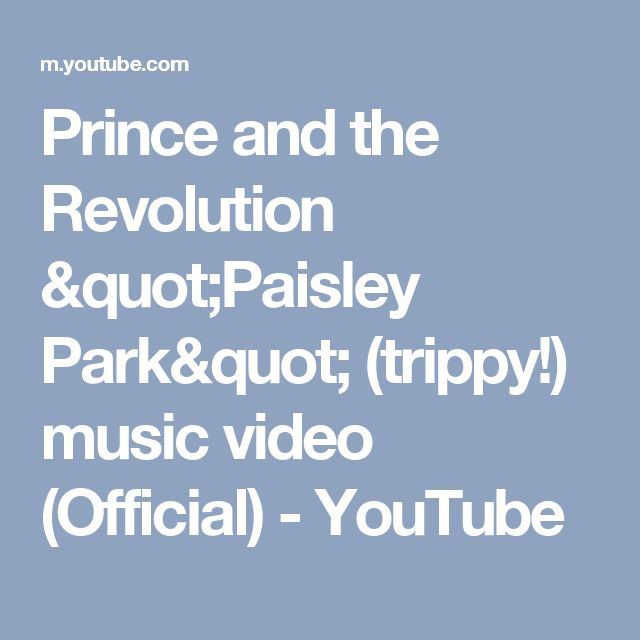 "Prince and the Revolution ""Paisley Park"" (trippy!) music video (Official) - YouTube"
