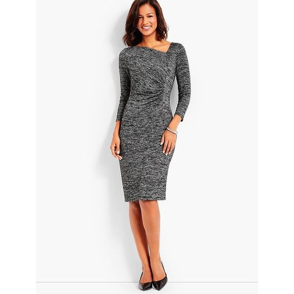 Talbots Women's Bella Space Dyed Side Ruched Sheath Dress ($129) ❤ liked on Polyvore featuring dresses, 3/4 sleeve cocktail dress, evening dresses, petite evening dresses, white 3 4 sleeve dress and white cocktail dress