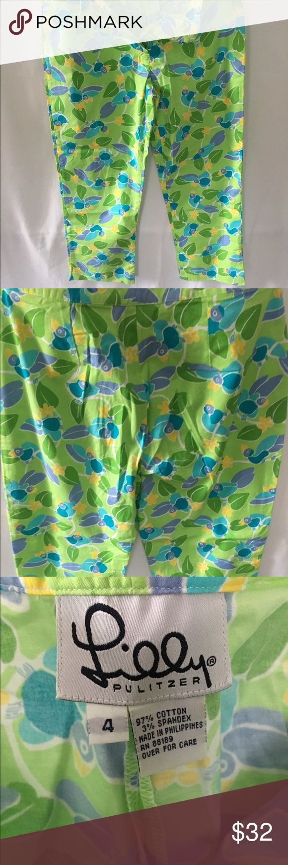 Sweet Lilly Pulitzer Capris Size 4 Sweet Blue Tropical 🐦 Blue Birds Hiding About the Tropical Brush.        🎍🌴🎋🌱 🌼Ready To Sing Their Morning Alarm Clock Song!!               No Pockets, Nor Belt Loop- Just adorable For Breakfast & The Club!  Worn maybe 2 times...     Please Know Your Lilly Pulitzer Sizes Lilly Pulitzer Pants Capris