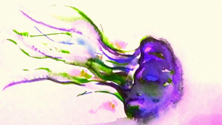 #Jellyfish#meduza#watercolour#brushpen#ecoline#painting