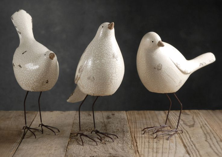 Inspiration for creating some morning doves for the garden with crackle glazes and the shorter legs.