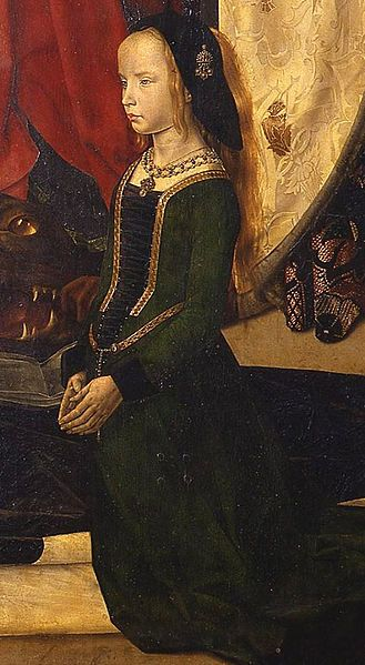 Hugo van der Goes detail - Margherita Portinari a banker's daughter of Bruges wears a green dress laced up the front with a single lace over a dark kirtle. Her hair is worn loose under a black cap with a pendant jewel, Netherlands, 1476–78.