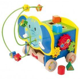 Veľký motorický stolík - sloník, je vyrobený z kvalitného pestro maľovaného dreva. Hračka je určená na precvičovanie motorických schopností