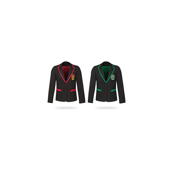 Harry Potter House Ladies' Blazer ($80) ❤ liked on Polyvore featuring outerwear, jackets, blazers, patch jacket, blazer jacket, owl jacket and fleece-lined jackets