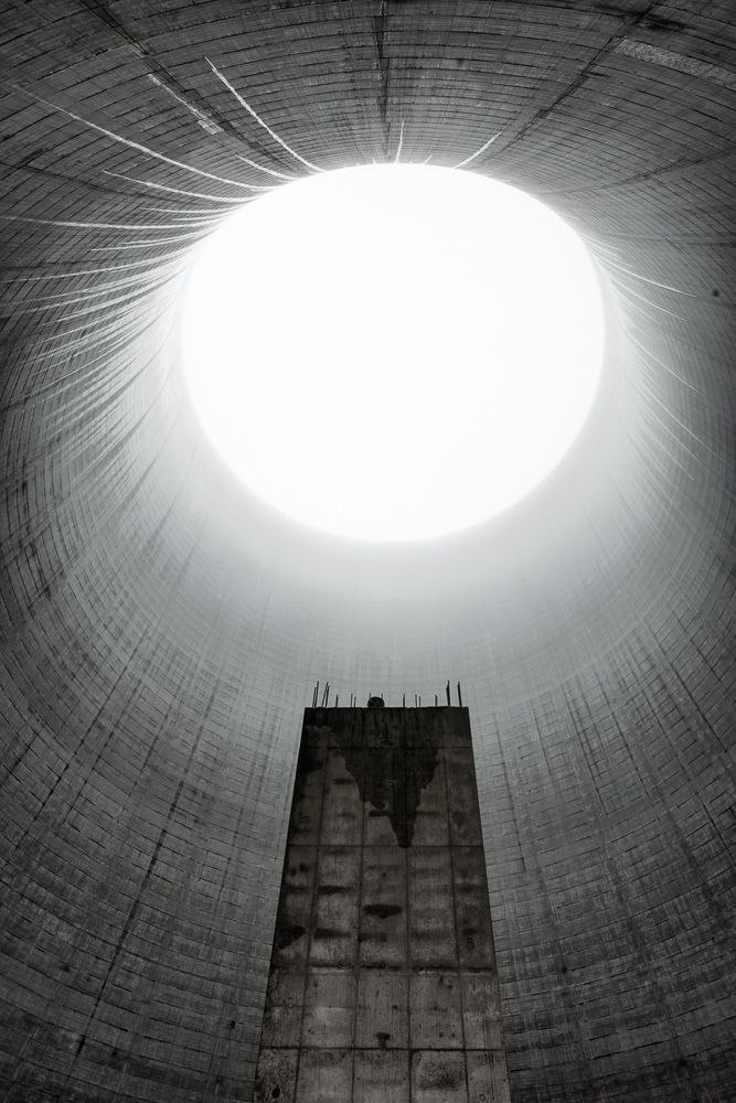Looking up at the unfinished cooling tower at Satsop Nuclear plant in Washington state.