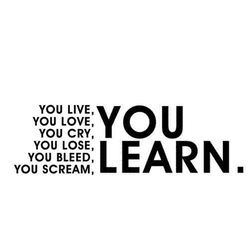 You live, you love, you cry, you lose, you bleed, you scream, you learn.