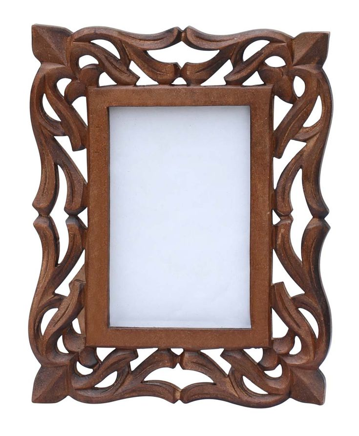 4x6 Inches Brown Picture Frame in Bulk - Wholesale Hand Carved Vintage-Look Wooden Photo Frame with Lattice Work - Home Decor Picture Frame Distributors